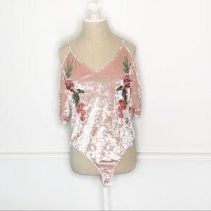 NWT Charlotte Russe Velvet Cold Shoulder Body Suit